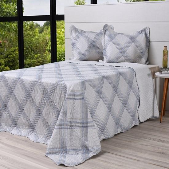 Kit Cobre Leito Casal + Porta Travesseiros Rolinho Geometrico - Bene Casa