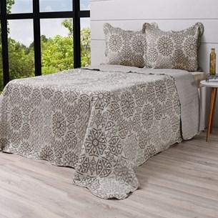 Kit Cobre Leito Casal + Porta Travesseiros Rolinho Ornament - Bene Casa
