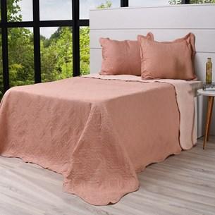 Kit Cobre Leito Casal + Porta Travesseiros Rolinho Rosa Antigo - Bene Casa