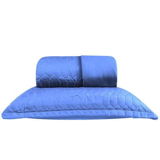 Kit Cobre Leito Casal + Portas Travesseiro Ultra Lisse Ágata Azul - Bene Casa