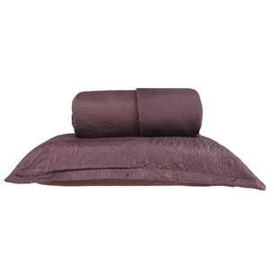 Kit Cobre Leito Casal + Portas Travesseiro Ultra Lisse Ágata Marrom - Bene Casa