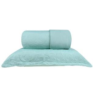 Kit Cobre Leito Casal + Portas Travesseiro Ultra Lisse Ágata Verde - Bene Casa