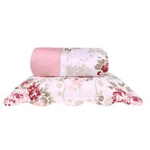 Kit Cobre Leito Casal Rolinho Com Porta Travesseiro Dupla Face Delicate - Bene Casa
