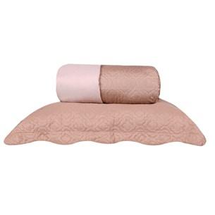 Kit Cobre Leito Casal Rolinho Com Porta Travesseiro Dupla Face Nude - Bene Casa