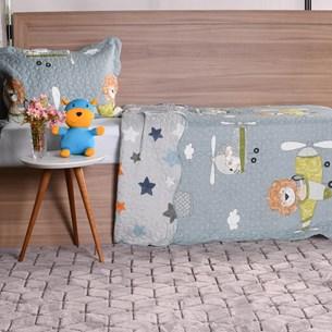 Kit Cobre Leito Infantil Solteiro Com Porta Travesseiro 2 Peças Aviação - Bene Casa