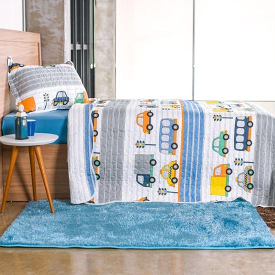 Kit Cobre Leito Infantil Solteiro Com Porta Travesseiro 2 Peças Carrinhos - Bene Casa