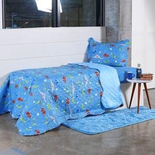 Kit Cobre Leito Infantil Solteiro Com Porta Travesseiro 2 Peças Jurassic - Bene Casa