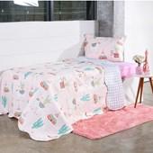 Produto Kit Cobre Leito Infantil Solteiro Com Porta Travesseiro 2 Peças Lhamas - Bene Casa