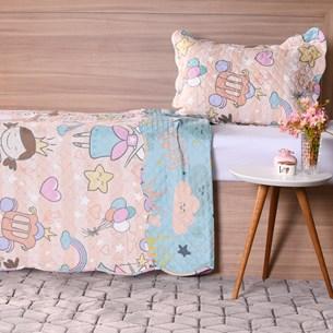 Kit Cobre Leito Infantil Solteiro Com Porta Travesseiro 2 Peças Magic - Bene Casa