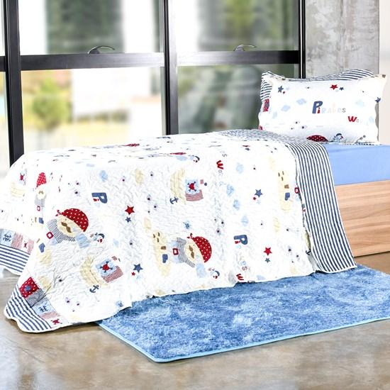 Kit Cobre Leito Infantil Solteiro Com Porta Travesseiro 2 Peças Pirates - Bene Casa