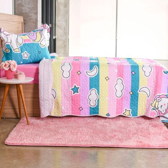 Kit Cobre Leito Infantil Solteiro Com Porta Travesseiro 2 Peças Unicornio - Bene Casa