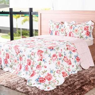 Kit Cobre-Leito King C/ Porta Travesseiro Encanto  Floral - Bene Casa