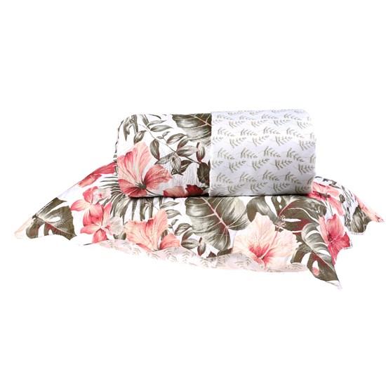 Kit Cobre Leito King Dupla Face + Porta Travesseiros Bouti Rolinho Tropical Cristal - Bene Casa