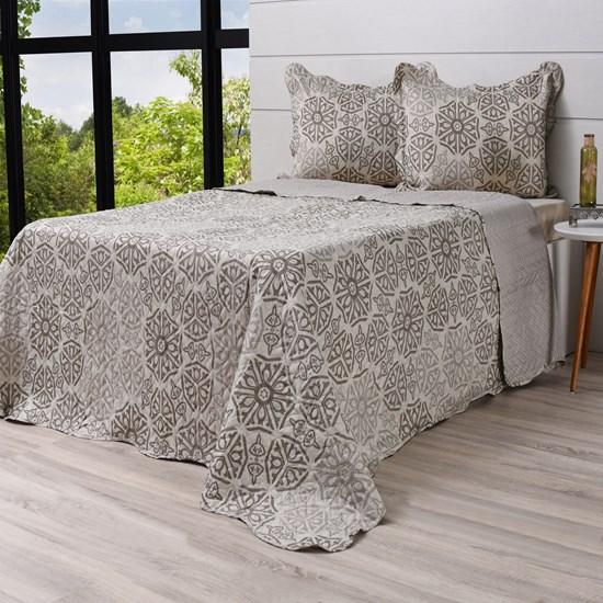 Kit Cobre Leito King + Porta Travesseiros Rolinho Ornament - Bene Casa
