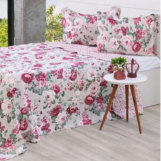 Kit Cobre Leito King + Porta Travesseiros Rolinho Rosas - Bene Casa