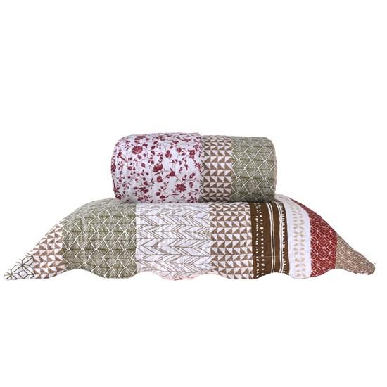 Kit Cobre Leito Queen Com Porta Travesseiro 3 Peças Rolinho  Magnolia - Bene Casa