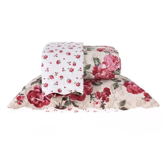 Kit Cobre Leito Queen Dupla Face Com Porta Travesseiro Ultra Lisse Amalia - Bene Casa