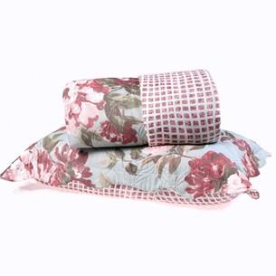 Kit Cobre Leito Queen Dupla Face + Porta Travesseiros Bouti Rolinho Florata Cristal - Bene Casa
