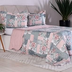 Kit Cobre Leito Queen Dupla Face + Porta Travesseiros Bouti Rolinho Patchwork Cristal - Bene Casa