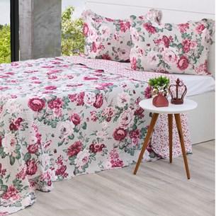 Kit Cobre Leito Queen + Porta Travesseiros Rolinho Rosas - Bene Casa