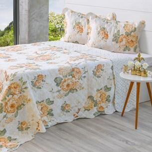 Kit Cobre Leito Queen + Porta Travesseiros Rolinho Sweet Flower - Bene Casa