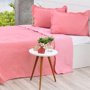 Kit Cobre Leito Queen + Porta Travesseiros Rosa Blush - Bene Casa