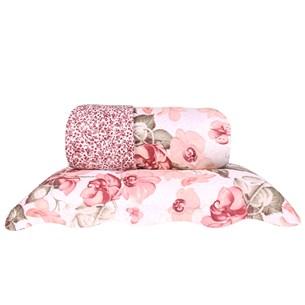 Kit Cobre Leito Queen Rolinho Com Porta Travesseiro Dupla Face Roses - Bene Casa