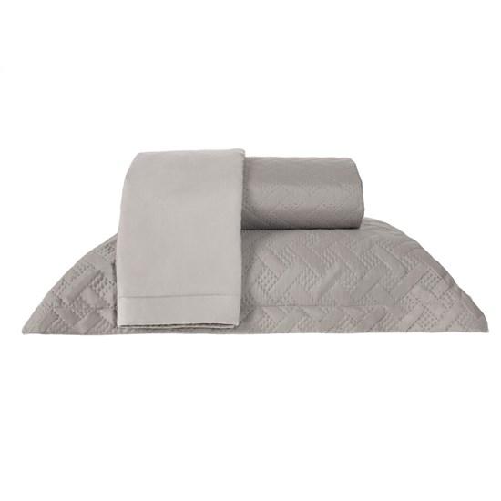 Kit Cobre Leito Solteiro Dupla Face Com Porta Travesseiro Ultra Lisse Aluminium - Bene Casa