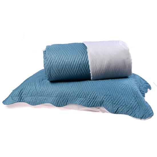 Kit Cobre Leito Solteiro Dupla Face + Porta Travesseiros Bouti Rolinho Azul Cristal - Bene Casa