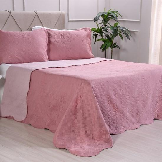Kit Cobre Leito Solteiro Dupla Face + Porta Travesseiros Bouti Rolinho Rosa Cristal - Bene Casa