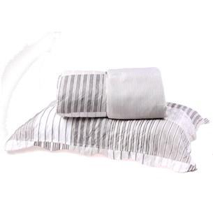 Kit Cobre Leito Solteiro Dupla Face + Porta Travesseiros Bouti Rolinho Stripe Cristal - Bene Casa