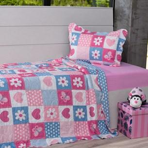 Kit Cobre Leito Solteiro + Porta Travesseiro Infantil Patchwork Corações - Bene Casa