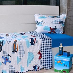Kit Cobre Leito Solteiro + Porta Travesseiro + Lençol 3Pçs Aviões - Bene Casa