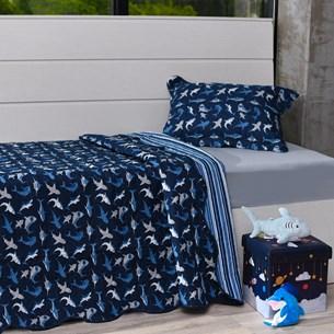 Kit Cobre Leito Solteiro + Porta Travesseiro + Lençol 3Pçs Shark - Bene Casa