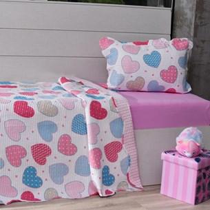 Kit Cobre Leito Solteiro + Porta Travesseiro + Lençol 3Pçs Sweet Love - Bene Casa