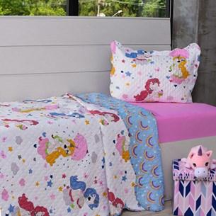 Kit Cobre Leito Solteiro + Porta Travesseiro + Lençol 3Pçs Unicornio - Bene Casa