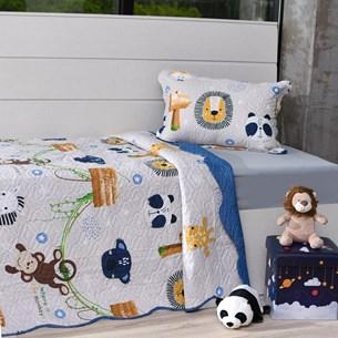 Kit Cobre Leito Solteiro + Porta Travesseiro + Lençol + Fronha 5Pçs Floresta - Bene Casa