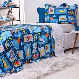 Kit Cobre Leito Solteiro + Porta Travesseiro Rolinho Kids Foguetes - Bene Casa