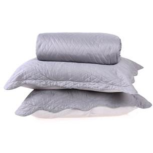 Kit Cobre Leito Ultra Lisse Casal + Porta Travesseiros Cinza Matte - Bene Casa