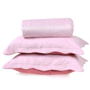 Kit Cobre Leito Ultra Lisse Casal + Porta Travesseiros Rosa Bebe Matte - Bene Casa
