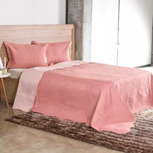 Kit Cobre Leito Ultra Lisse Solteiro Dupla Face Com Porta Travesseiro Rose - Bene Casa