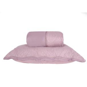 Kit Colcha Com Porta Travesseiro Casal Toque Extra Macio  Rosa Antigo - Tessi