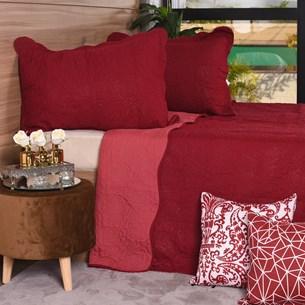 Kit Colcha Com Porta Travesseiro Casal Toque Extra Macio  Rouge - Tessi