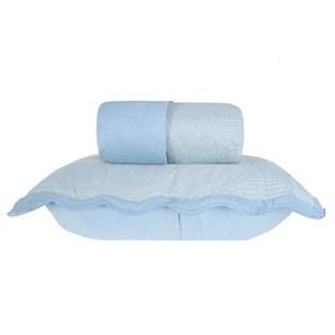 Kit Colcha Com Porta Travesseiro Casal Toque Extra Macio  Soft Blue - Tessi