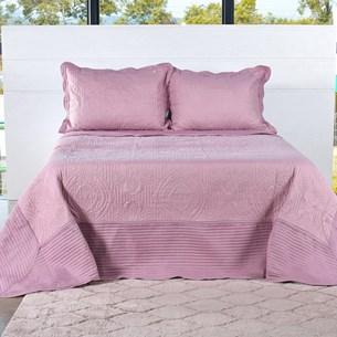 Kit Colcha Com Porta Travesseiro King Toque Extra Macio  Rosa Antigo - Tessi