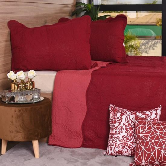 Kit Colcha Com Porta Travesseiro King Toque Extra Macio  Rouge - Tessi
