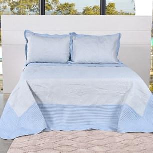 Kit Colcha Com Porta Travesseiro Queen Toque Extra Macio  Soft Blue - Tessi