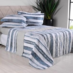 Kit Colcha Com Porta Travesseiros King 200 Fios 100% Algodão Premium Toque Extra Macio Stripes - Tessi