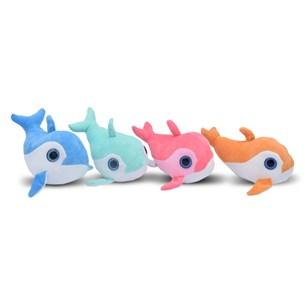Kit Com 4   Bichinhos De Pelúcia Super Divertidos Tubarão - Meu Pet