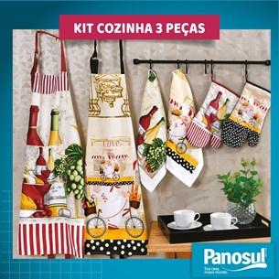 Kit Cozinha 3 Peças Com Avental Pano De Copa E Luva Bom Apetite - Panosul
